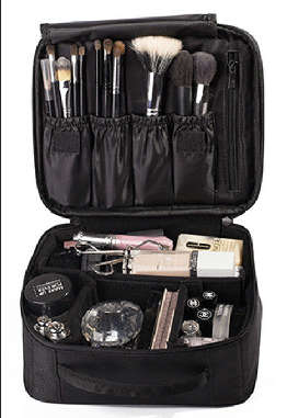 Black Makeup Cosmetic Case Beauty Artist Box Storage Tool Brushes Bag Organizer